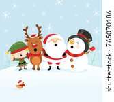 cute christmas card with santa... | Shutterstock .eps vector #765070186