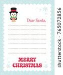 cartoon letter to santa penguin ... | Shutterstock .eps vector #765072856