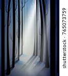 deep fairy frosty winter forest ... | Shutterstock .eps vector #765073759