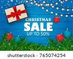 christmas sale on red... | Shutterstock .eps vector #765074254
