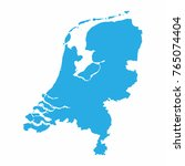 netherlands map on blue... | Shutterstock .eps vector #765074404