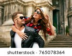 couple in love. man carrying... | Shutterstock . vector #765078364