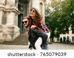 tourist couple. beautiful woman ... | Shutterstock . vector #765079039