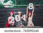 beautiful women in new year... | Shutterstock . vector #765090160