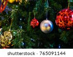 decorated christmas tree on... | Shutterstock . vector #765091144