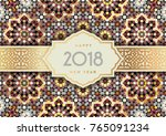 merry christmas and happy 2018...   Shutterstock .eps vector #765091234