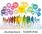 sale. colorful shopping crowd.... | Shutterstock . vector #765091936