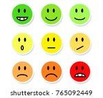 set of smileys mood color on... | Shutterstock .eps vector #765092449