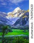 aoraki mount cook and green... | Shutterstock . vector #765092620