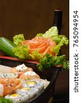japanese food  sashimi and sushi | Shutterstock . vector #765094954