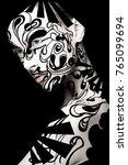 beautiful girl with art black...   Shutterstock . vector #765099694