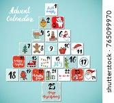 christmas advent calendar. hand ... | Shutterstock .eps vector #765099970