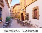 poble espanyol street ... | Shutterstock . vector #765102688