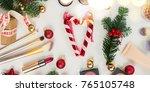set of christmas make up... | Shutterstock . vector #765105748