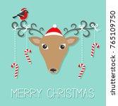 reindeeer head santa claus hat. ... | Shutterstock .eps vector #765109750