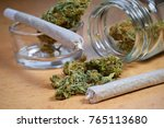 marijuana buds  jar  money and... | Shutterstock . vector #765113680