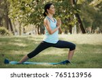 yoga class concept young woman... | Shutterstock . vector #765113956