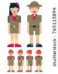 boy scout cartoon set  full... | Shutterstock .eps vector #765115894