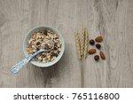 muesli with nuts hazelnuts ... | Shutterstock . vector #765116800
