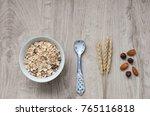 muesli with nuts hazelnuts ... | Shutterstock . vector #765116818