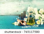 spa setting with jasmine... | Shutterstock . vector #765117580