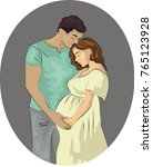 a pregnant woman with her... | Shutterstock .eps vector #765123928