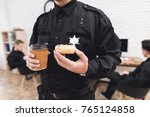 police officers eat donuts and... | Shutterstock . vector #765124858