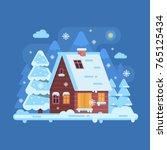 snowy scene with rural winter... | Shutterstock .eps vector #765125434