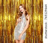 beautiful woman celebrating new ... | Shutterstock . vector #765129664