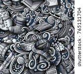 cartoon cute doodles winter... | Shutterstock .eps vector #765131704