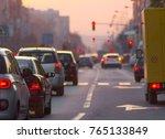 traffic jam at city road | Shutterstock . vector #765133849