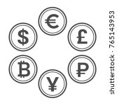 currency flat icon set. euro ... | Shutterstock .eps vector #765143953
