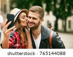 lovely tourist couple taking... | Shutterstock . vector #765144088