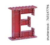 Steel I Beam Font 3d Rendering...