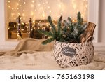 wicker basket decorated with... | Shutterstock . vector #765163198