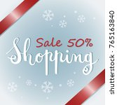 winter sale banner with red... | Shutterstock .eps vector #765163840
