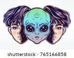 ufo sci fi  tattoo art.... | Shutterstock .eps vector #765166858