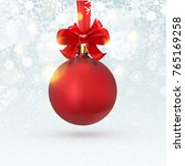 christmas red ball hanging with ... | Shutterstock .eps vector #765169258