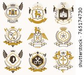 collection of vector heraldic... | Shutterstock .eps vector #765174730