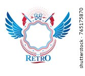 graphic ancient key emblem... | Shutterstock .eps vector #765175870