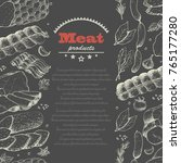 vector background with meat... | Shutterstock .eps vector #765177280