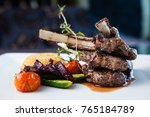 grilled lamb carre with warm... | Shutterstock . vector #765184789