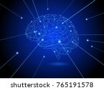 polygonal brain shape drawing... | Shutterstock .eps vector #765191578