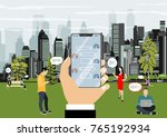human hand holds smart phone... | Shutterstock .eps vector #765192934
