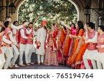 beautiful indian newlyweds... | Shutterstock . vector #765194764