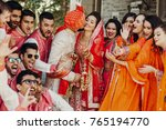 beautiful indian newlyweds... | Shutterstock . vector #765194770
