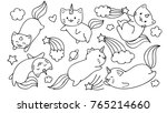 Stock vector hand drawn cute unicorn cats flying with stars and clouds for design element and coloring book page 765214660