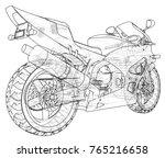 sports bike technical wire... | Shutterstock .eps vector #765216658