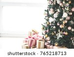christmas living room with a... | Shutterstock . vector #765218713