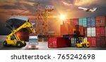 forklift handling container box ... | Shutterstock . vector #765242698